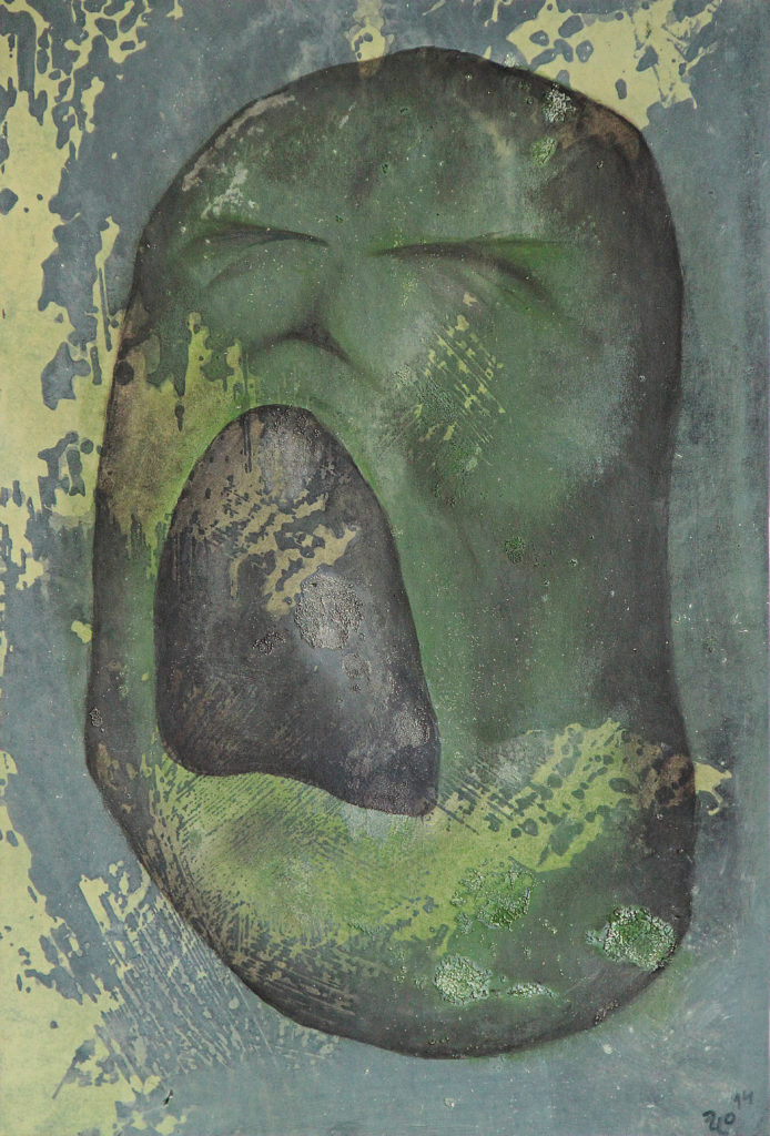 Maska křiku, 2014, 33 x 23 cm, olej na kartonu / k prodeji / č. 100