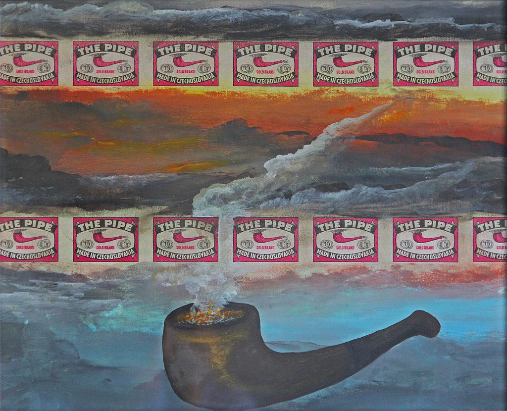 Toto není dýmka, 2003, 29 x 35 cm, olej na kartonu / k prodeji / č. 104
