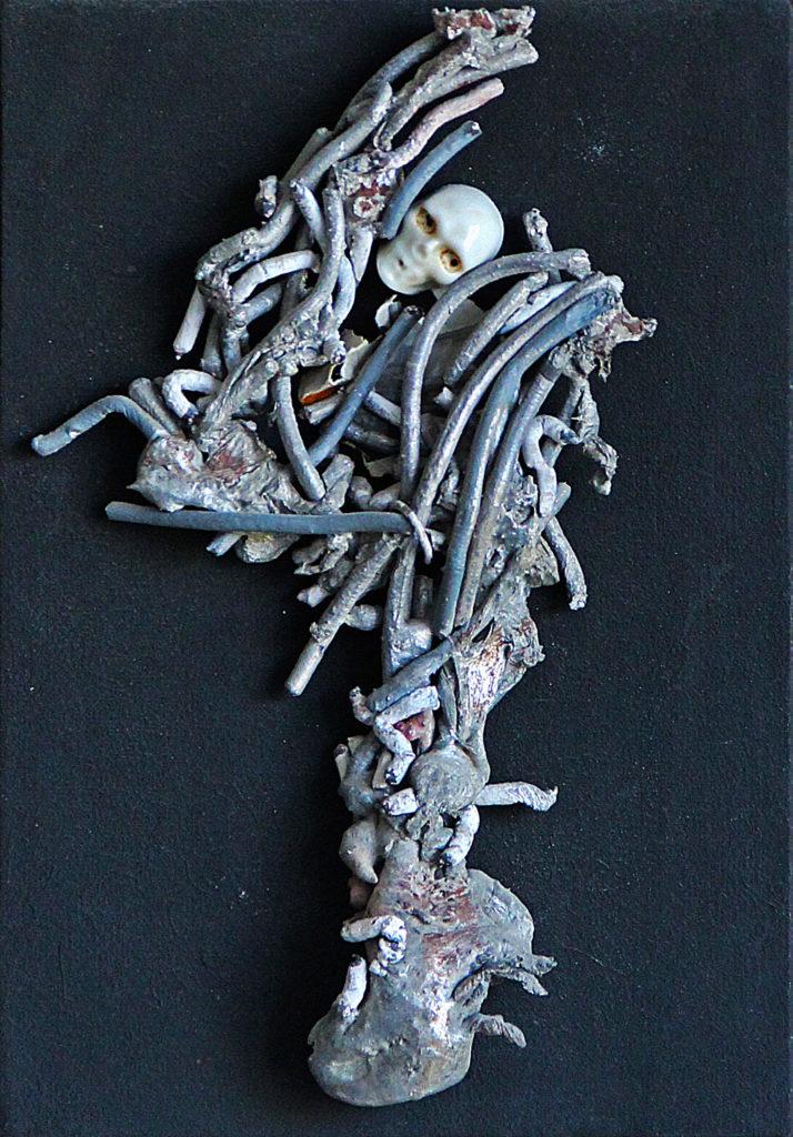 """Tanec smrti aneb """"To co zůstane"""", 1986, 34 x 28 cm, instalace / v soukromé sbírce / č. 106"""