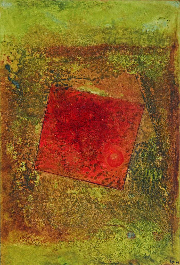 """""""Čtverec"""", 2011, 37 x 25 cm, olej na kartonu / v soukromé sbírce / č. 107"""