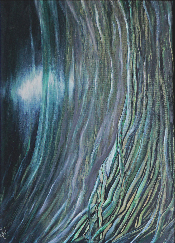 Slunce v síti, 1997, 55 x 41 cm, olej na sololitu / k prodeji / č. 123