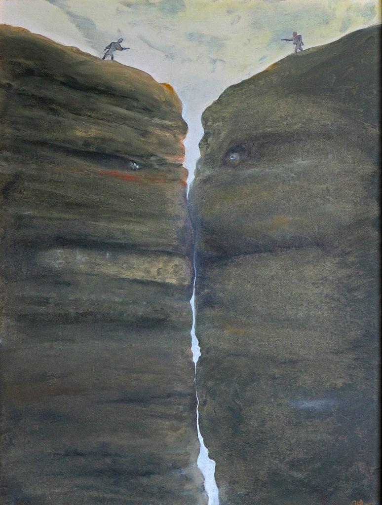 Souboj, 2008, 69 x 53 cm, olej na kartonu / v soukromé sbírce / č. 126