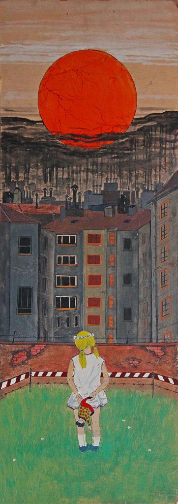 """""""Holčička"""", 1975, 80 x 29 cm, olej na sololitu / v soukromé sbírce / č. 129"""