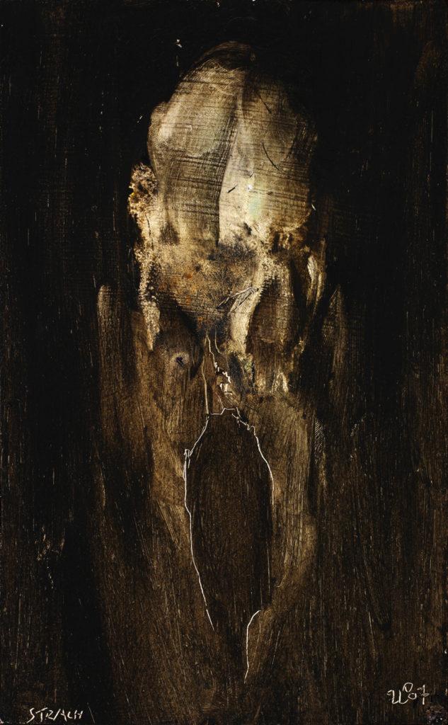Strach, 1987, 25 x 16 cm, olej na dřevě / v soukromé sbírce / č. 12
