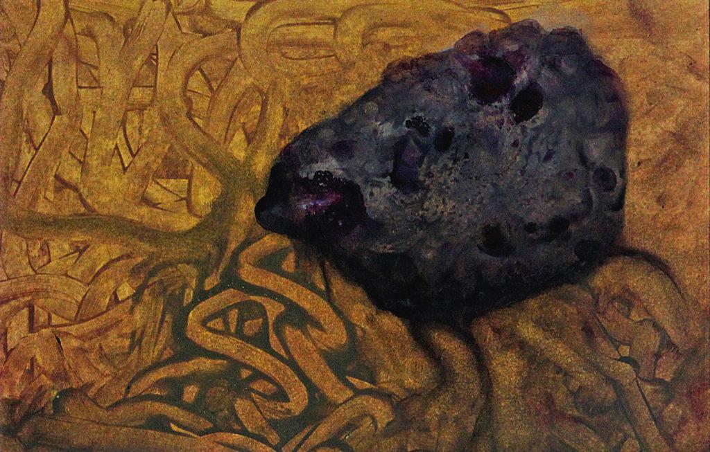 """Rakovník aneb """"Sedím si tu a hniju"""", 2012, 39 x 53 cm, olej na kartonu / k prodeji / č. 135"""