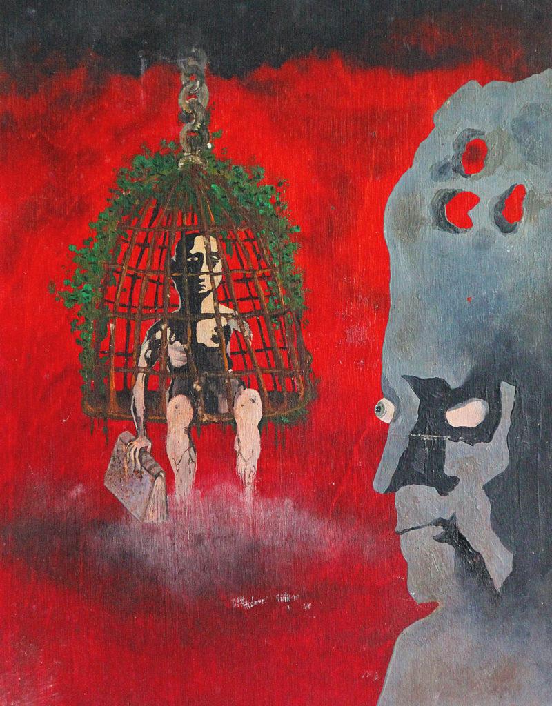 """""""Hlavoun"""", 1980, 33 x 25 cm, olej na dřevě / v soukromé sbírce / č. 136"""