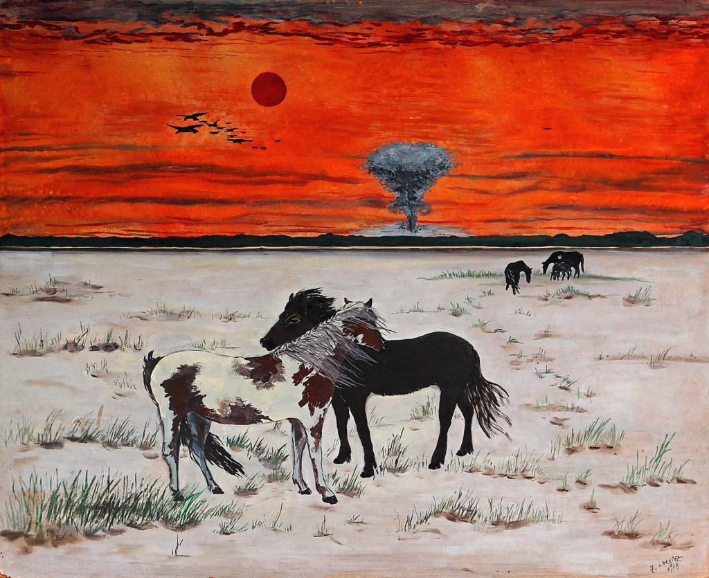 Koně, 1978, 53 x 65 cm, olej na sololitu / k prodeji / č. 139