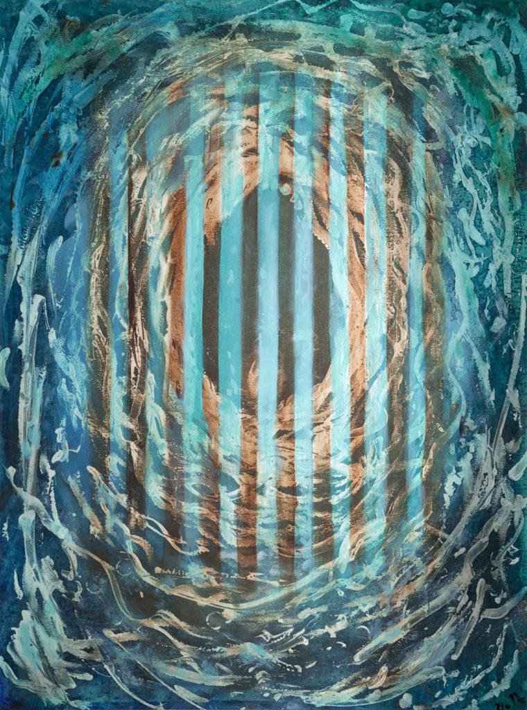 Mřížovaný snění, 2012, 68 x 52 cm, olej na kartonu / v soukromé sbírce / č. 14
