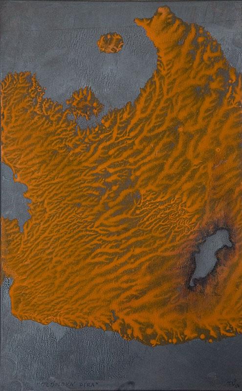 Ozonová díra, 2012, 24 x 29 cm, olej na papíře / v soukromé sbírce / č. 156