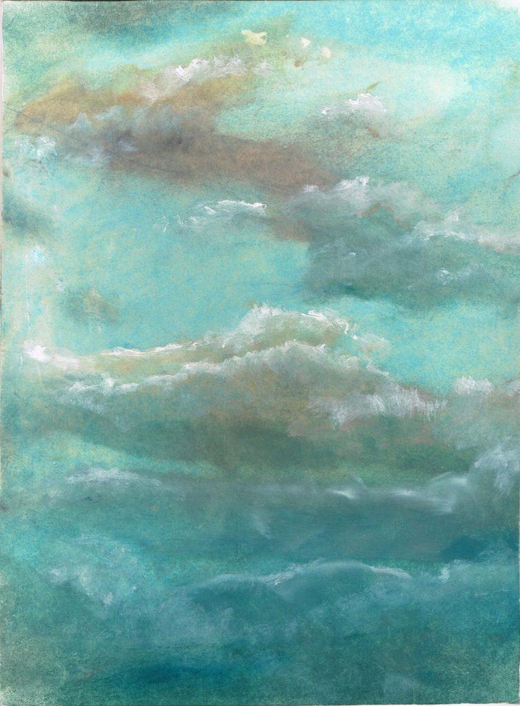 Psáno do mraků, 1999, 20 x 27 cm, olej na kartonu / v soukromé sbírce / č. 159