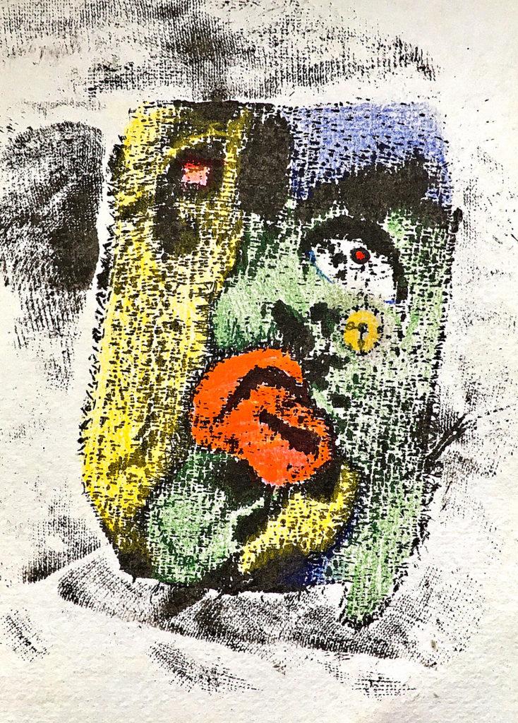 """Kubismus aneb """"Čas a smrt"""", 2006, 18 x 13 cm, sítotisk / k prodeji / č. 166"""