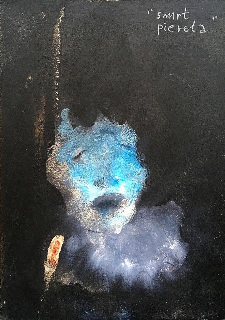 Smrt pierota, 2013, 15 x 11 cm, olej na papíře / v soukromé sbírce / č. 169