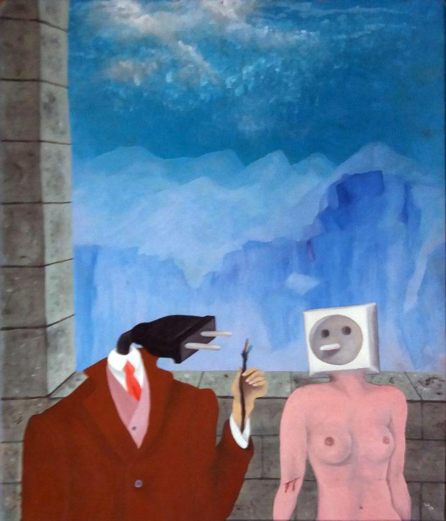 Vážný rozhovor, 1987, 40 x 34 cm,, tempera na sololitu / v soukromé sbírce / č. 197