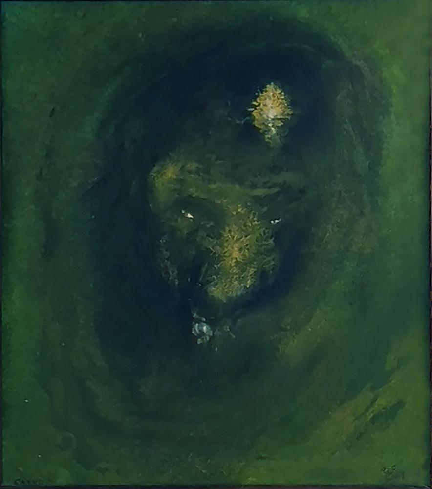 Satyr, 2004, 24 x 20 cm, olej na papíře / v soukromé sbírce / č. 211