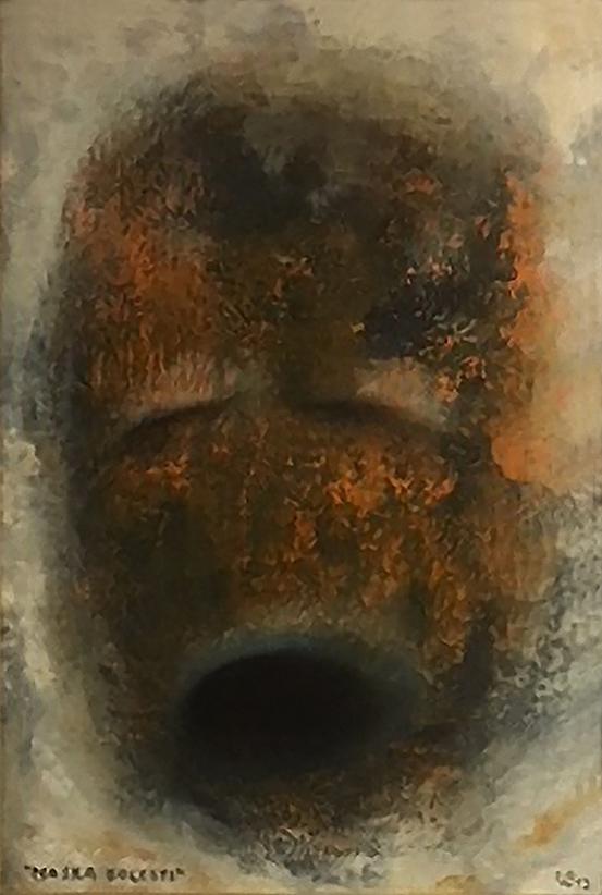 Maska bolesti, 2013, 29 x 20 cm, olej na papíře / v soukromé sbírce / č. 214