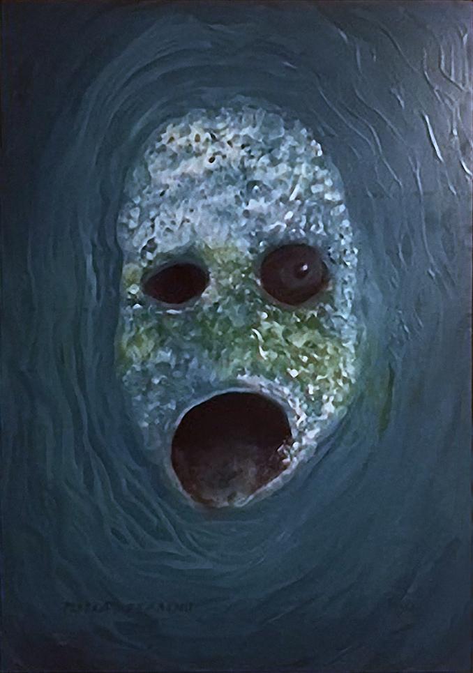 Maska strachu, 2013, 38 x 27 cm, olej na papíře / v soukromé sbírce / č. 217