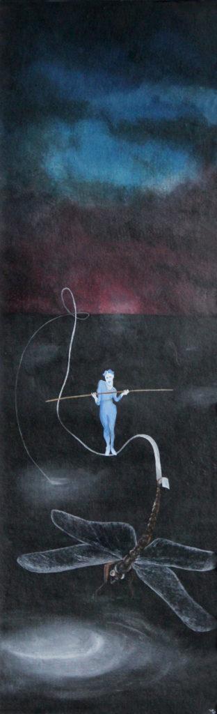 Na vážkách, 1989, 90 x 34 cm, olej na sololitu / v soukromé sbírce / č. 22
