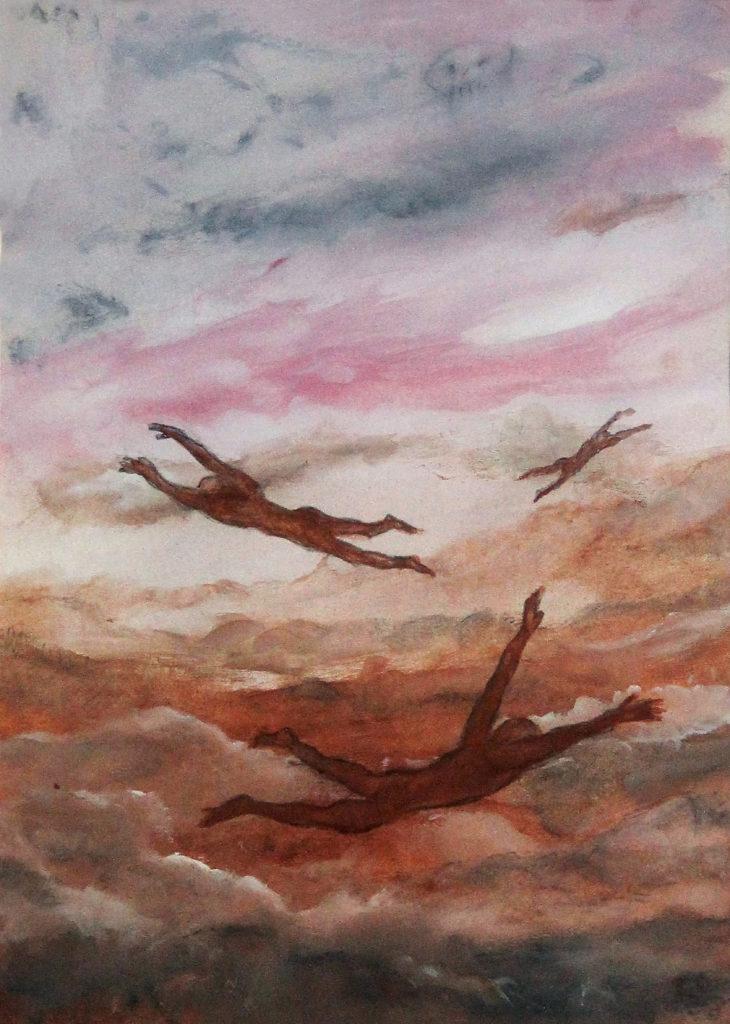 """Létavci aneb """"Volný pád"""", 2002, 47 x 35 cm, tempera / v soukromé sbírce / č. 34"""