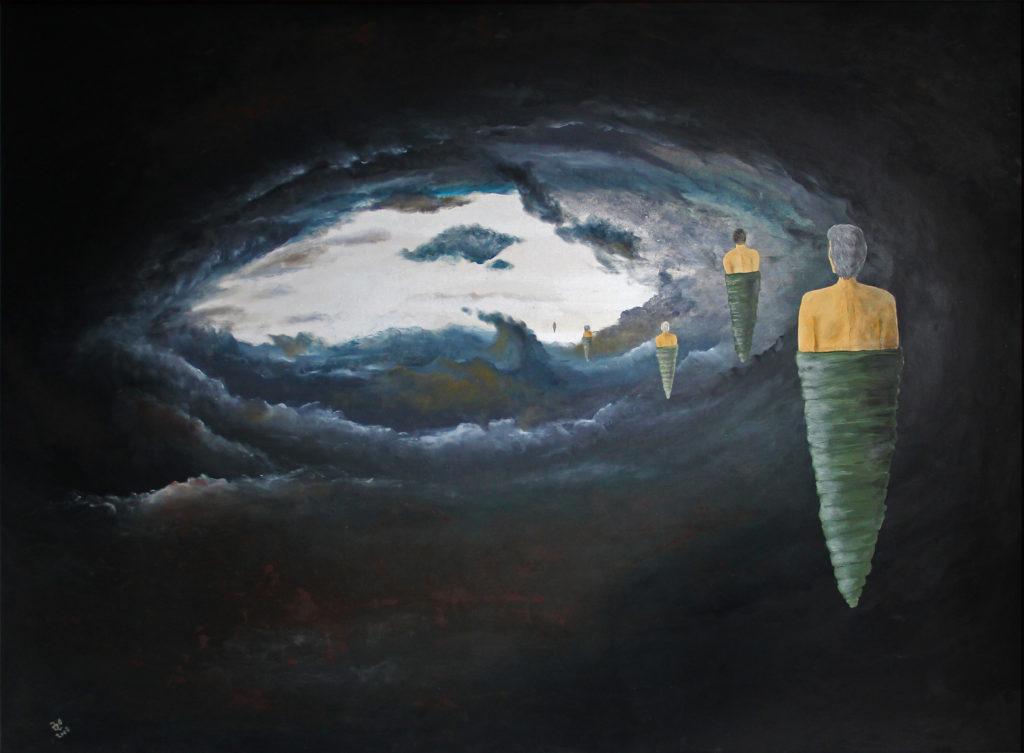 Poutníci, 2008, 128 x 98 cm, olej na kartonu / v soukromé sbírce / č. 37