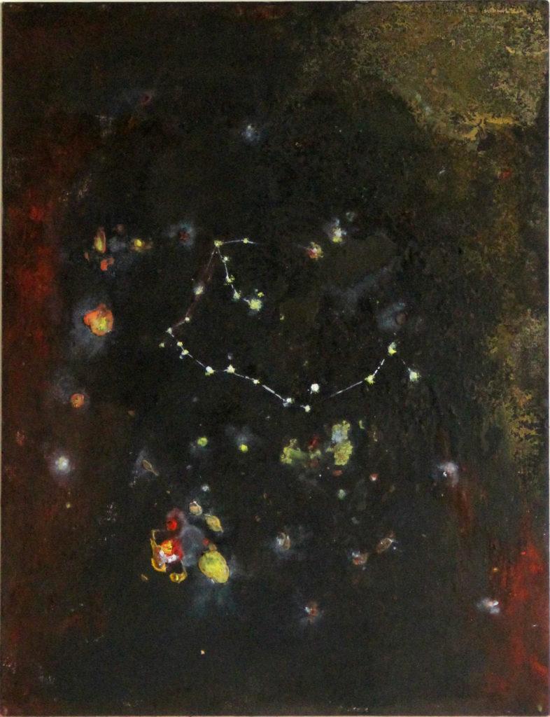Souhvězdí saxofonisty, 2010, 47 x 39 cm, olej na kartonu / k prodeji / č. 39