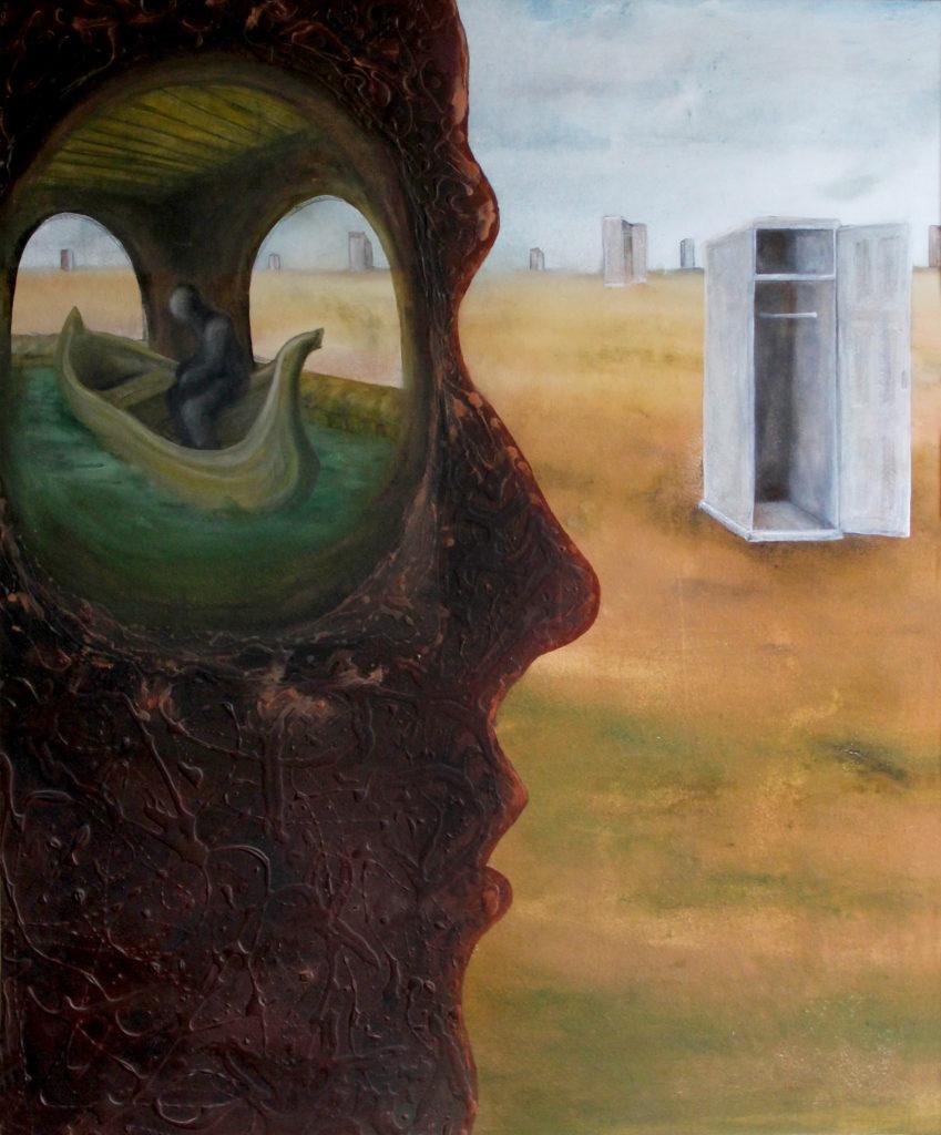 """""""Vyčerpaná představivost"""", 90. léta, 120 x 104 cm, olej na sololitu / v soukromé sbírce / č. 43"""