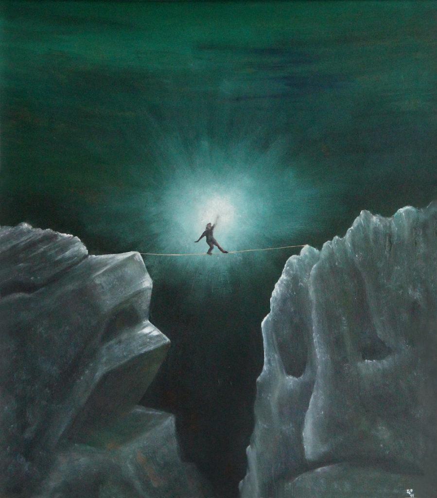Světlonoš - usmíření, 1991, 47 x 42 cm, olej na sololitu / v soukromé sbírce / č. 45