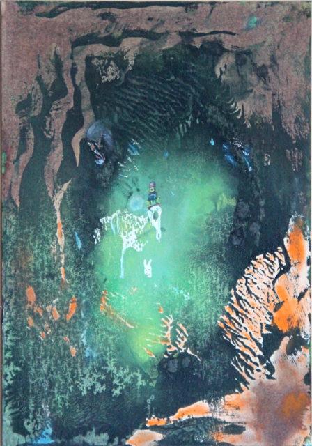Kostra koně, zajíc a Freud, 2010, 41 x 33 cm, olej na kartonu / v soukromé sbírce / č. 57