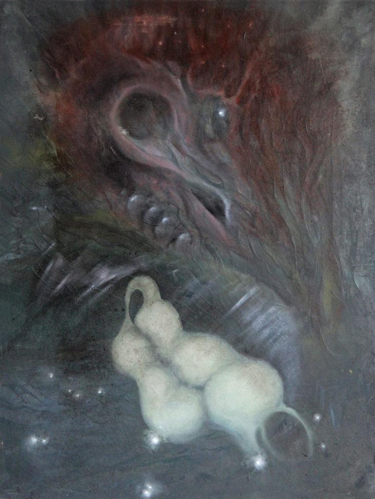 Věrné milování, 1994, 52 x 39 cm, olej na kartonu / v soukromé sbírce / č. 58