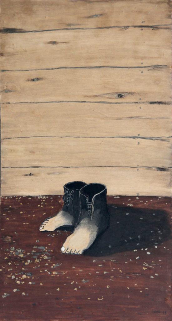 """""""Magrittovy boty"""", 1978, 53 x 29 cm, olej na sololitu / k prodeji / č. 76"""
