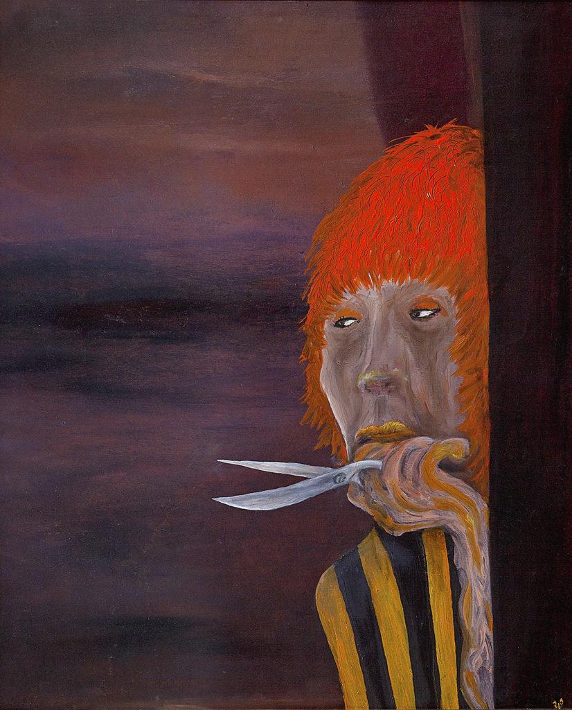 Dáma s nůžkami (bez hranostaje), 2009, 65 x 55 cm, olej na kartonu / k prodeji / č. 90