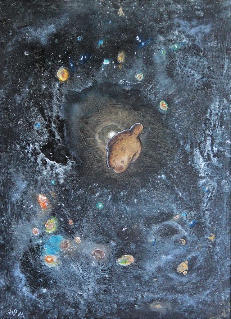 Nulová gravitace, 2014, 57 x 43 cm, olej na sololitu / k prodeji / č. 96