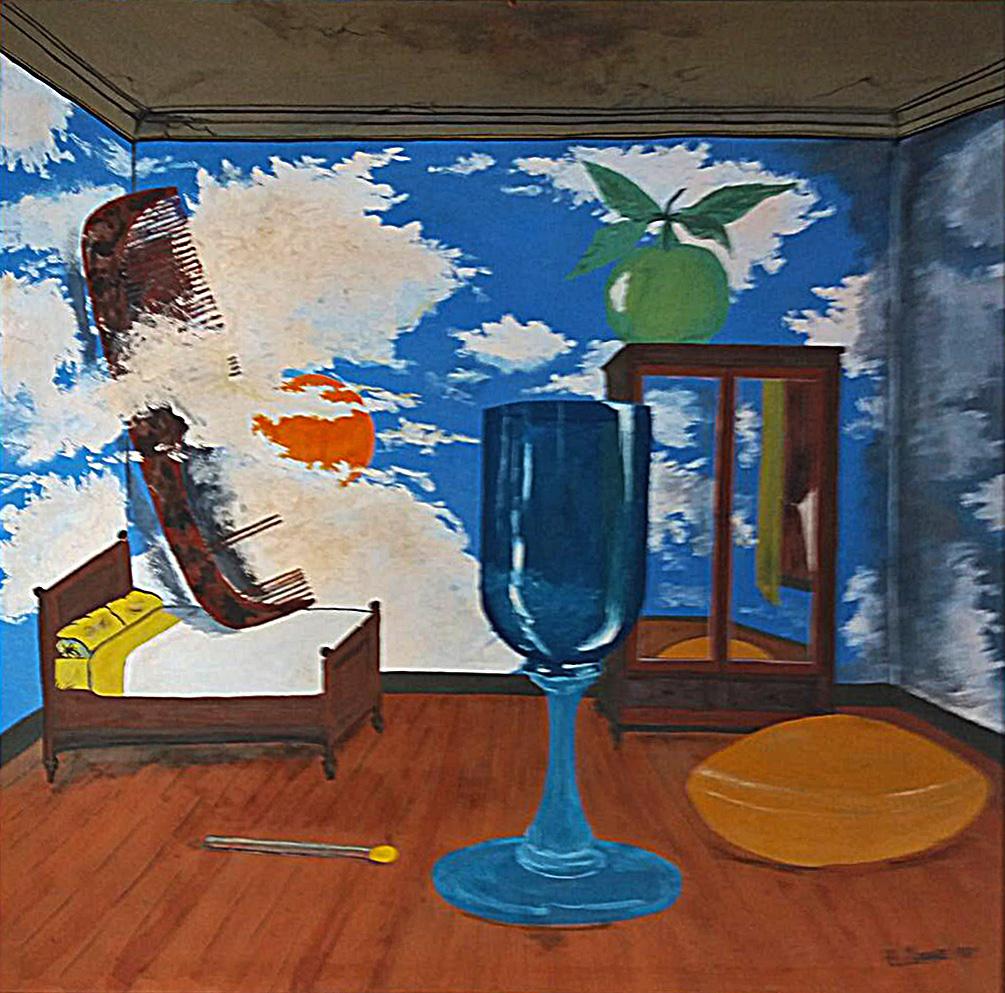 """Magrittův pokoj"", 1978, 54 x 54 cm, tempera na sololitu / v soukromé sbírce / č. 246"