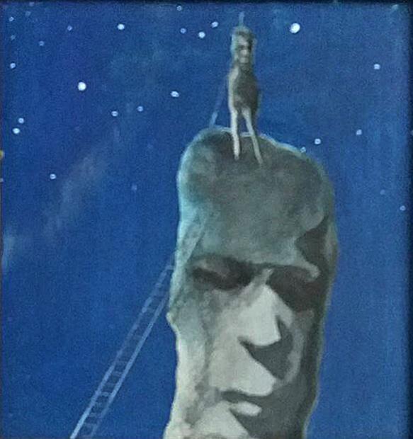 """Jen vzůru aneb """"Postup zajištěn"""", 1984, 20 x 20 cm, olej na kartonu / v soukromé sbírce / č. 247"""