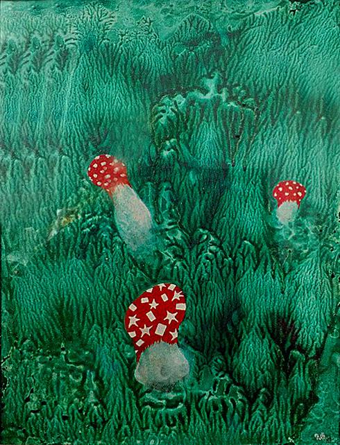 Mochomůrka-provokatér, 2007, 41 x 32 cm, olej na kartonu / v soukromé sbírce / č. 252