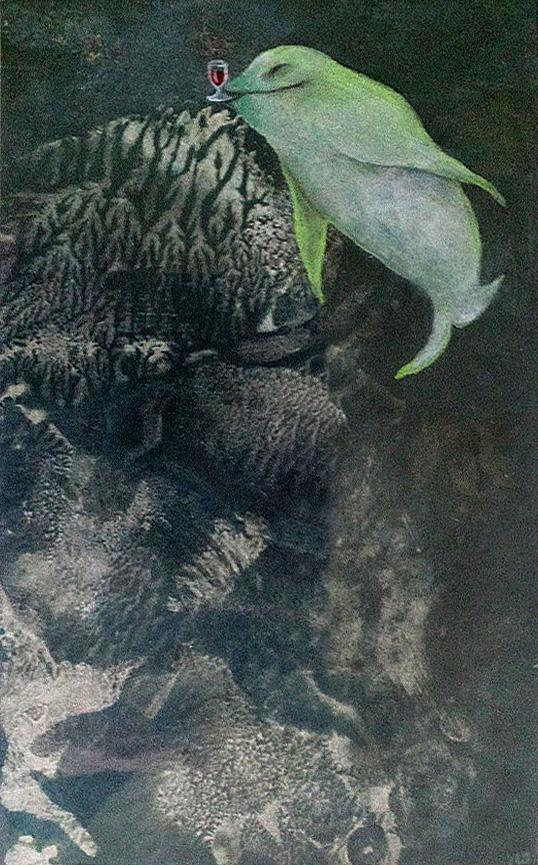 Delfín pohodář, 2009, 15 x 24 cm, olej na kartonu / v soukromé sbírce / č. 256