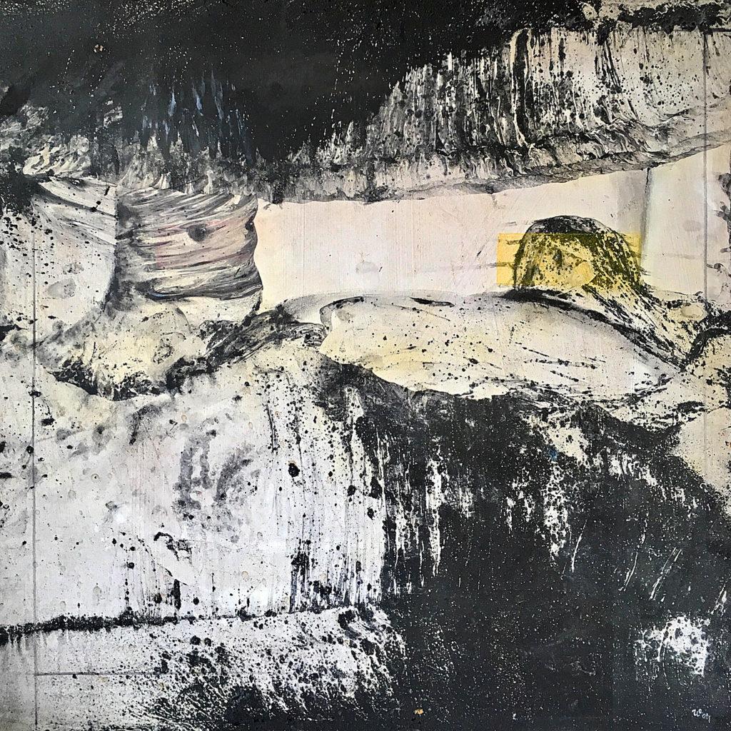 V peřinách neměj strach zalezeš do nich nenajde tě vrah..., 2000, 78 x 78 cm, rozmývaný olej na sololitu / k prodeji / č. 260