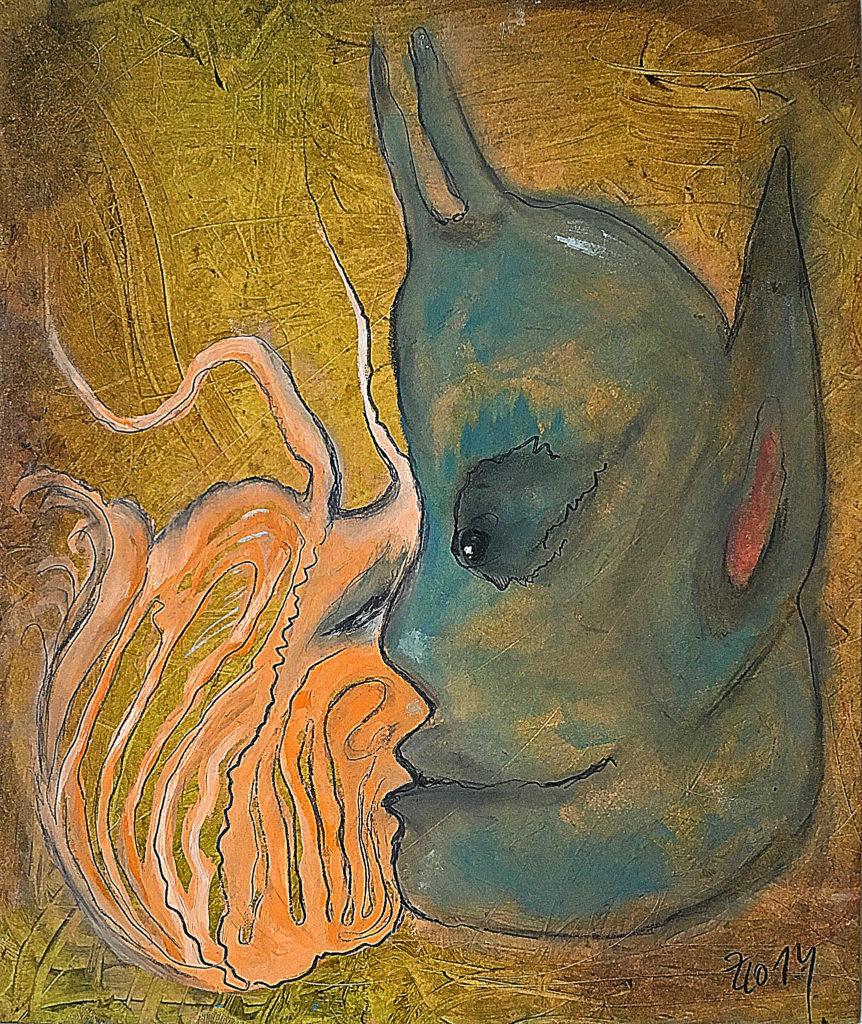 Polibek Satyra, 2014, 30 x 24 cm, olej na kartonu / k prodeji / č. 267