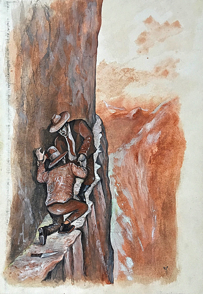 """Na hraně"", 1989, 31 x 21 cm, tempera na kartonu / k prodeji / č. 269"