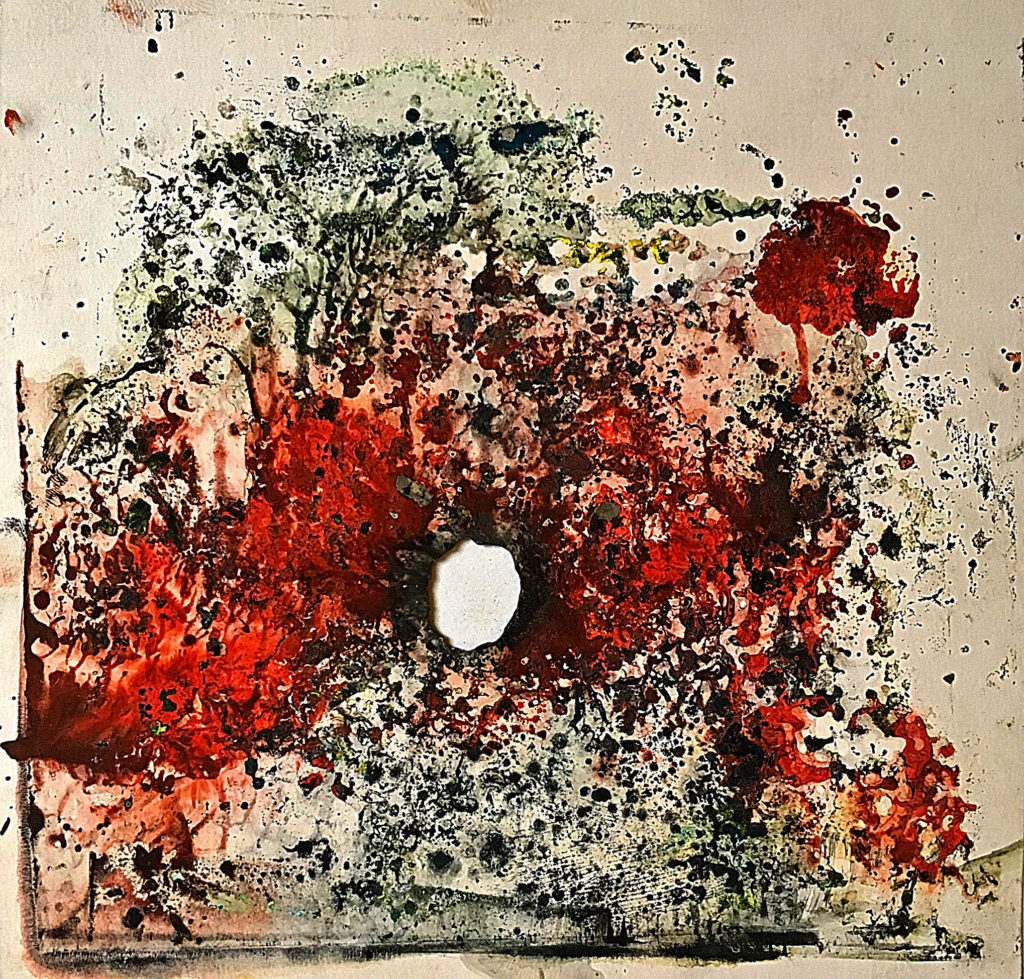"""""""Zásah"""", 2009, 18 x 18 cm, olej na papíře / k prodeji / č. 270"""
