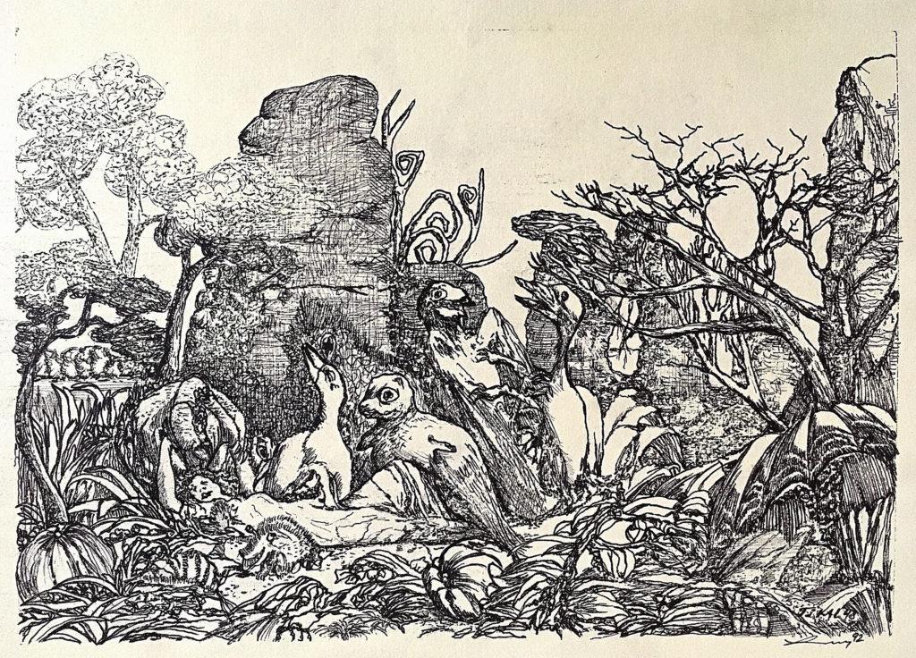 """""""Tikal 48"""", 1992, 43 x 30 cm, perokresba / k prodeji / č. 279"""