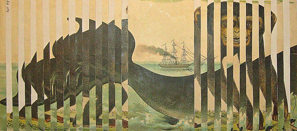 Mořský pán, 1994, 12 x 31 cm, koláž / v soukromé sbírce / č. 280