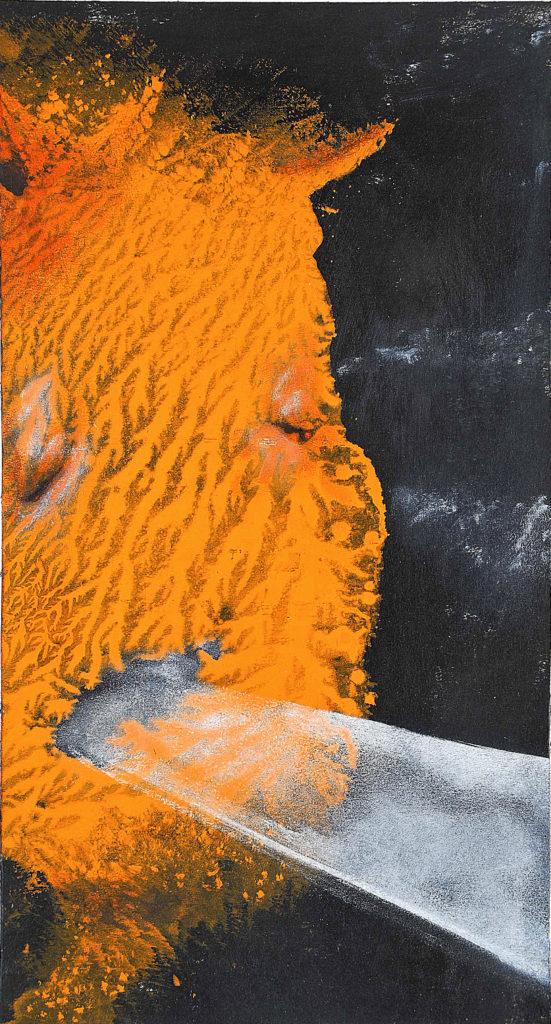 Konec světa už byl, 2012, 20 x 35 cm, olej na kartonu / v soukromé sbírce / č. 282