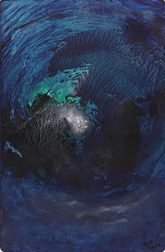 """Konec světa už byl aneb """"Tsunami"""", 2012, 23 x 35 cm, olej na kartonu / v soukromé sbírce / č. 283"""