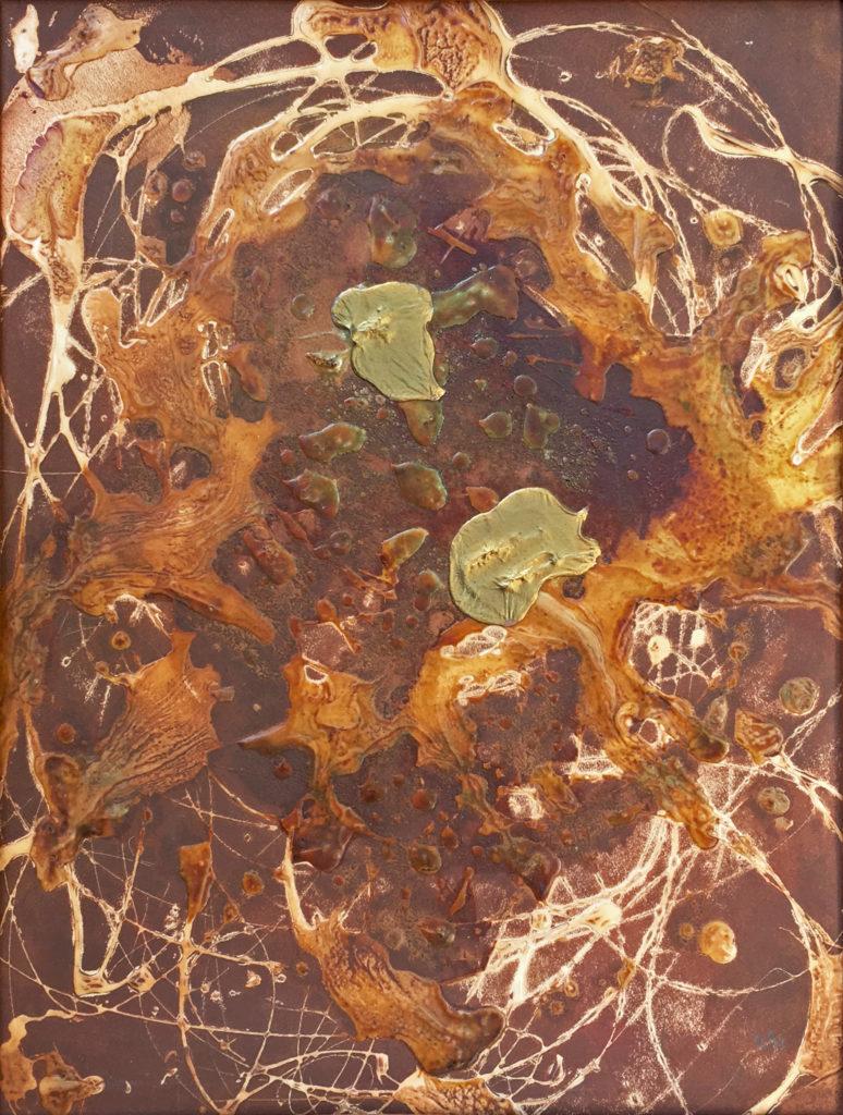 """Nepatříme k sobě aneb """"Zlatý voči"""", 1993, 42 x 32 cm, kombinovaná technika / k prodeji / č. 292"""