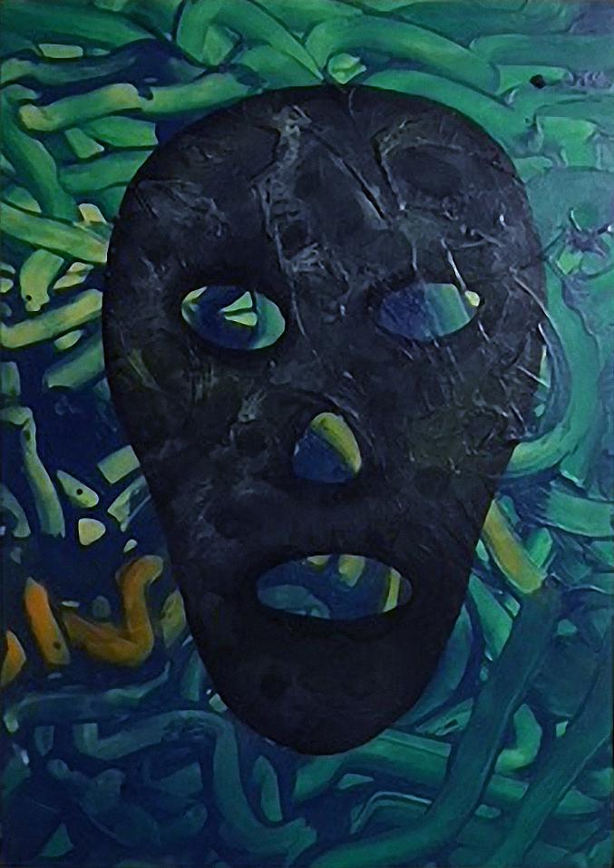 Maska tmy, 2014, 35 x 22 cm, olej na papíře / v soukromé sbírce / č. 218
